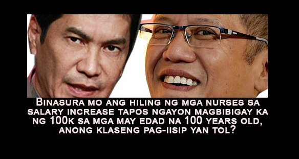 Tulfo twits PNoy for favoring centenarian law while junking nursing law