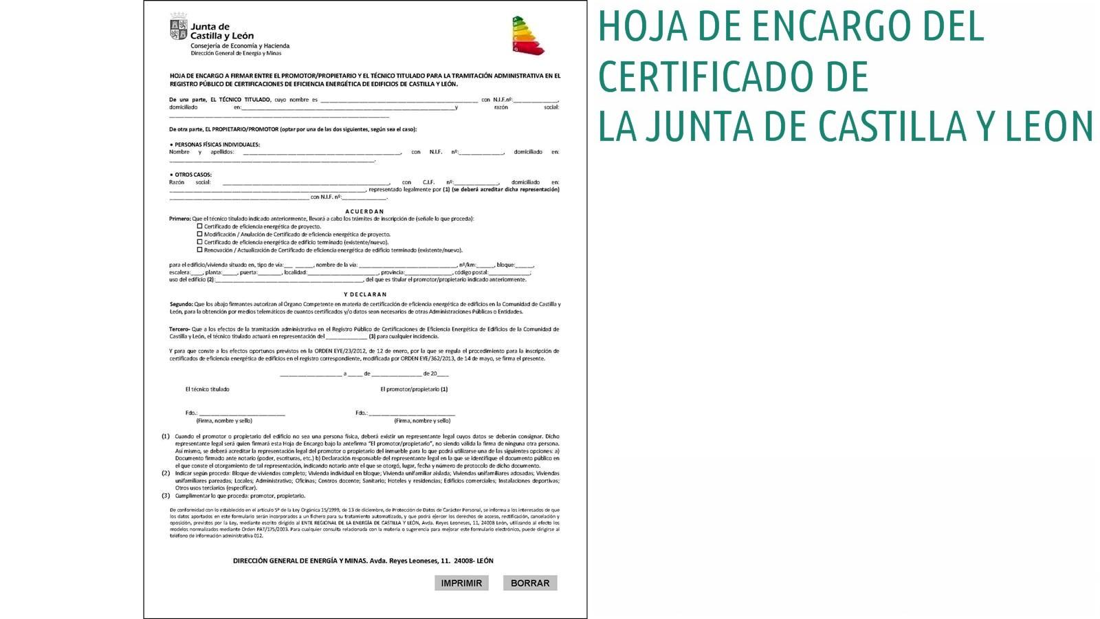 hoja de encargo certificado energetico