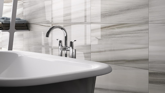 Italian porcelain tile for bathroom with I MARMI collection