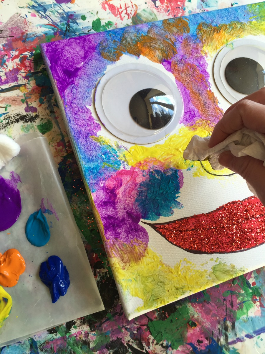 Mini Monets And Mommies Wiggle Eye Painted Canvas Wall Art