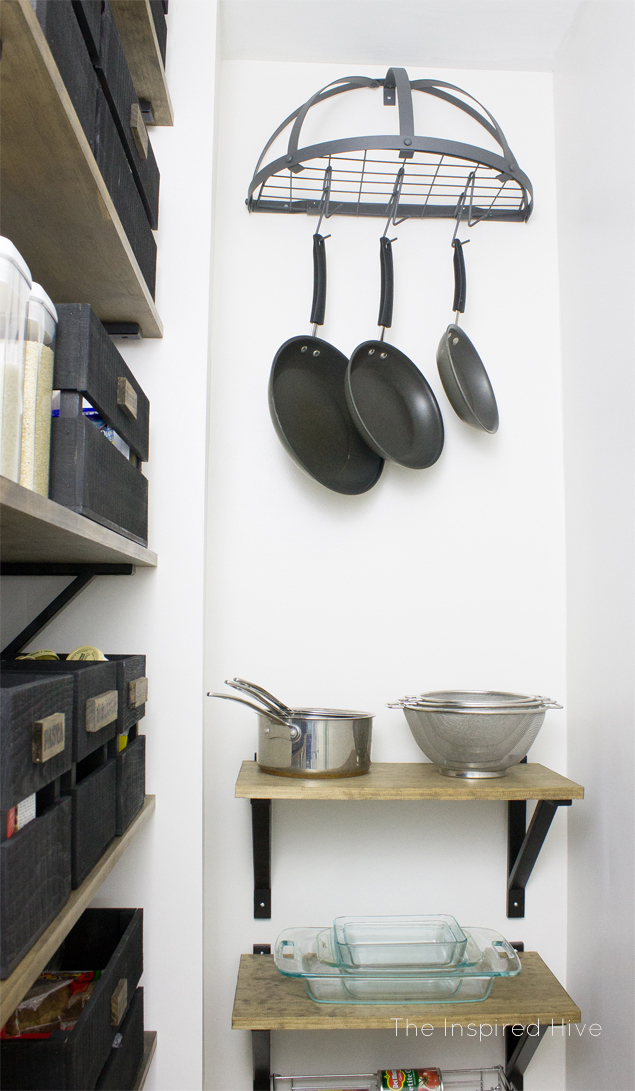 DIY industrial farmhouse pantry. I love this industrial pot rack!