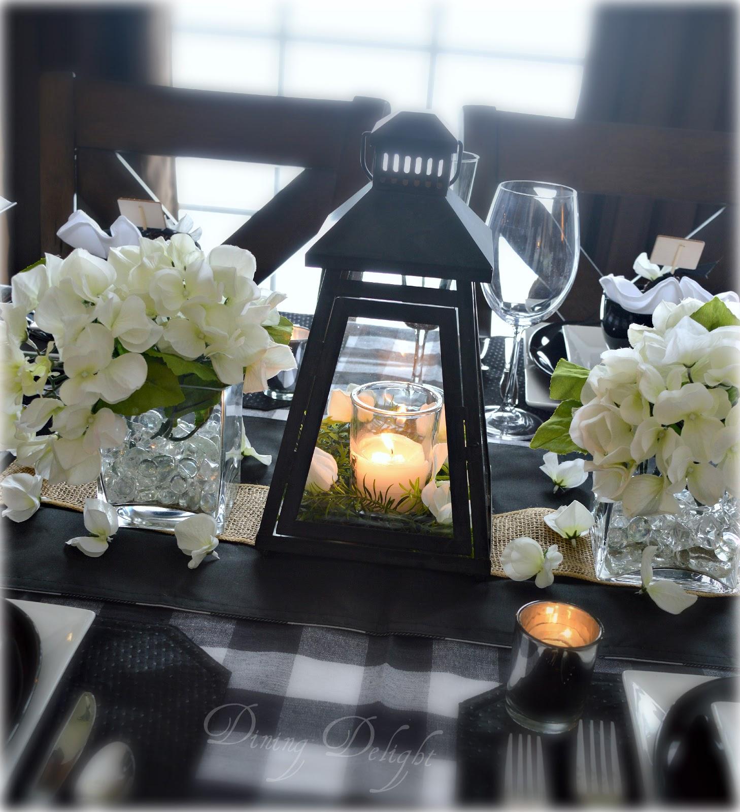 Dining delight black lanterns buffalo check tablescape