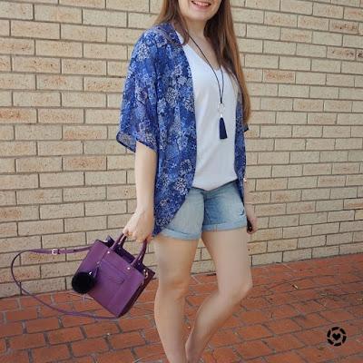 awayfromtheblue instagram | Rebecca Minkoff plum purple mini MAB tote bag white tee denim shorts kimono
