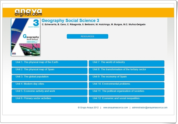 "Anaya Digital: ""Geography Social Science de 3º de Secundaria"""
