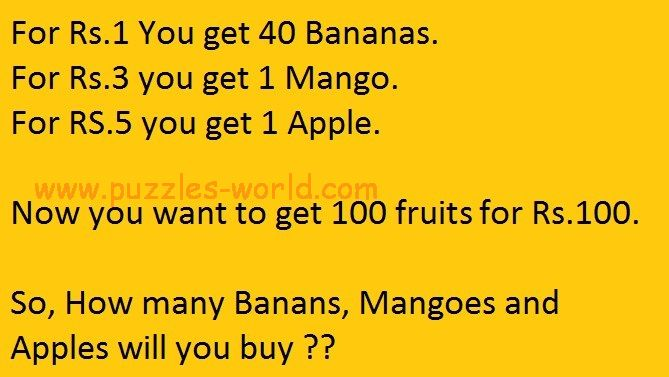 How many Bananas, Mangoes and Apples will you buy ?