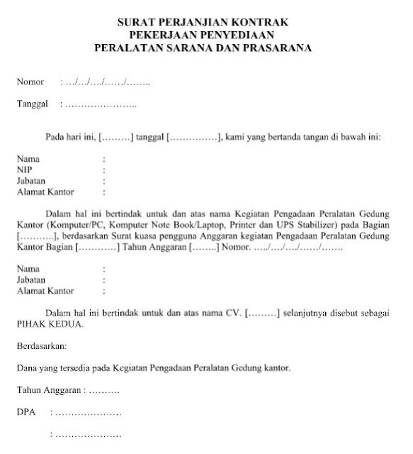 Download Contoh Surat Perjanjian Kontrak Pengadaan Sarana dan Prasarana Format Word
