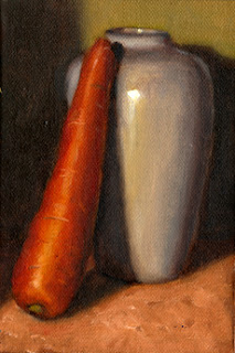 Oil painting of a carrot resting against a white porcelain vase.