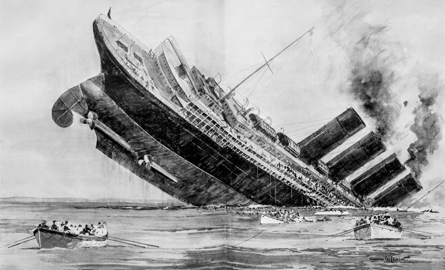 The Cunard rider liner the Lusitania was torpedoed in addition to sunk past times a High German U Sinking of Lusitania