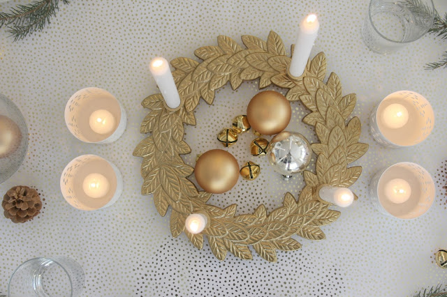 image result for hello lovely Swedish christmas holiday farmhouse tablescape gold white green