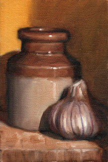 Oil painting of a small earthenware jar beside a garlic bulb.