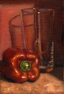 Oil painting of a red pepper beside a cider glass with a red background.