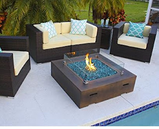 "42"" x 42"" Square Modern Concrete Fire Pit Table w/ Glass Guard"