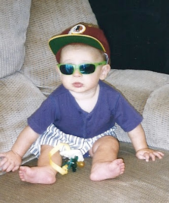 Zack at 4 months, already a Redskins fan