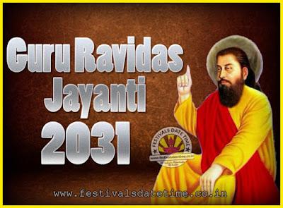 2031 Guru Ravidas Jayanti Date & Time, 2031 Ravidas Jayanti Calendar
