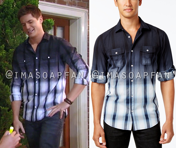 Dillon Quartermaine, Robert Palmer Watkins, Dip-Dyed Navy Blue Plaid Shirt, General Hospital, GH