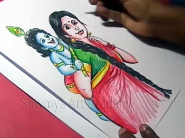 Kids Cartoon Drawings How To Draw Lord Child Krishna And Yashoda