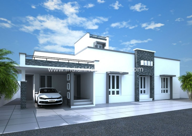 Contemporary Single Floor Home In 1350 Sq Ft: 1350 Sq.ft Contemporary Style Villa