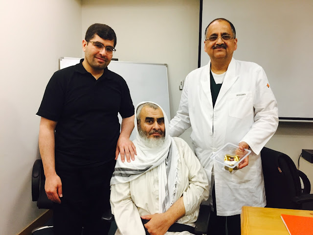 (R-L) Dr SKS Marya, Chairman, Medanta's Institute of Bone & Joint holding a titanium implant in his hand, the patient-Mohd Qasim Alfaqir