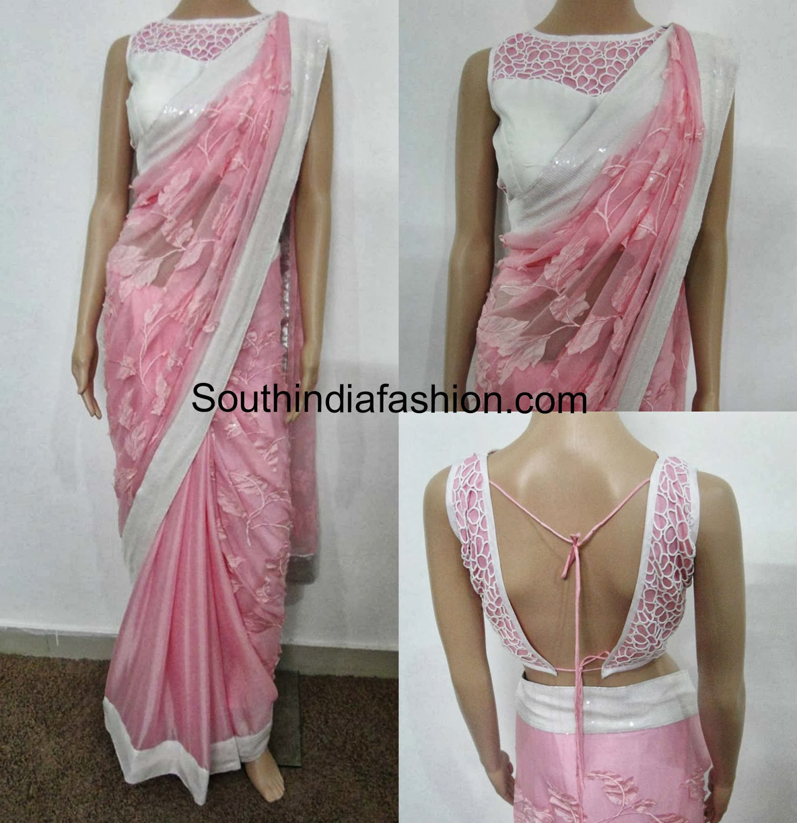 Baby Pink Saree With Cutwork Blouse South India Fashion