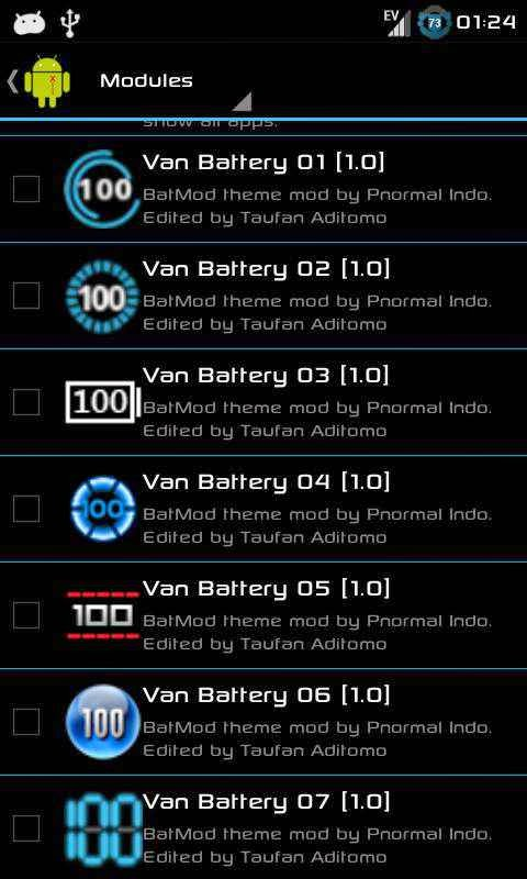 Tampilan ICON Van Battery di Modules Xposed Installer