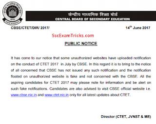 CTET July 2017 notice