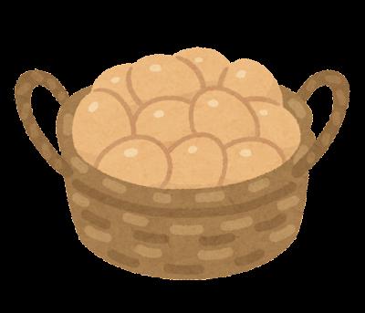 かごに入った卵のイラスト(茶色)