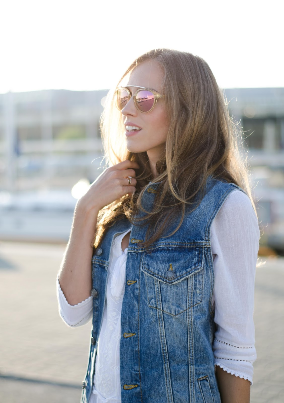 zara denim vest white dress outfit
