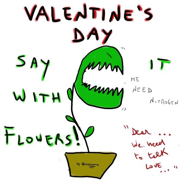 """Disegno di una pianta carnivora con la scritta: """"Ditelo con i fiori"""" (by sciencemug)"""