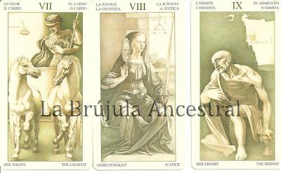 Carro, Justicia y Ermitaño del mazo de Tarot Leonardo Da Vinci
