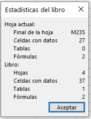 Estadísticas del Libro de Excel