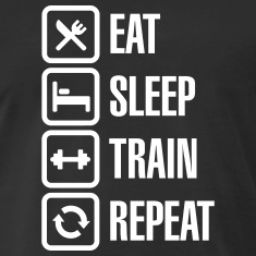 train, eat, sleep