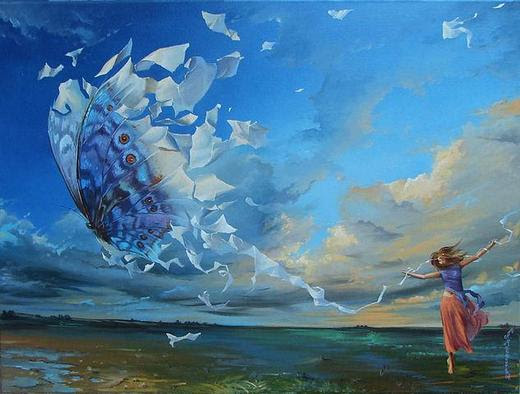 A girl enjoys her freedom as a butterfly what is flying above the lake