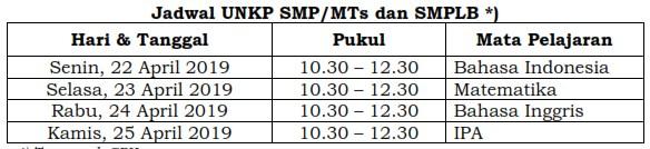 Jadwal UN SMP 2019