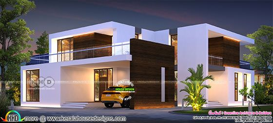 Box model modern contemporary home night view rendering