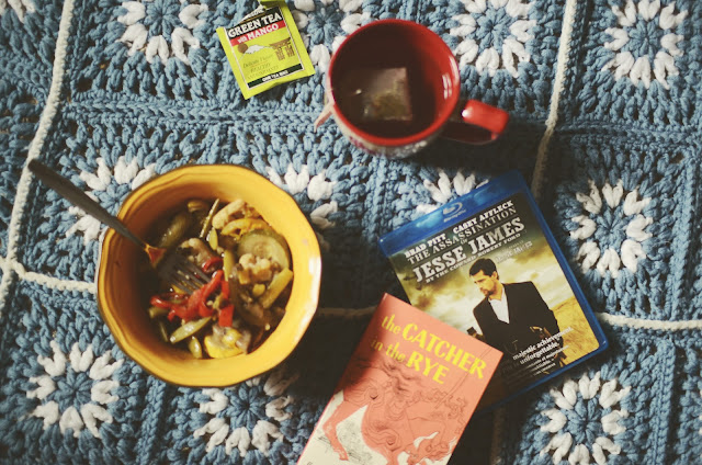 Catcher in the Rye, The Assassination of Jesse James, grannie square, blanket, tea, vegetable, soup