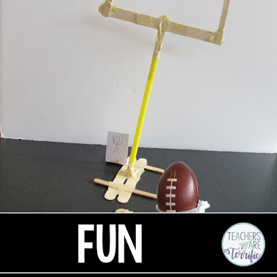 STEM Challenge- build a goal post and a way to kick the ball through it!