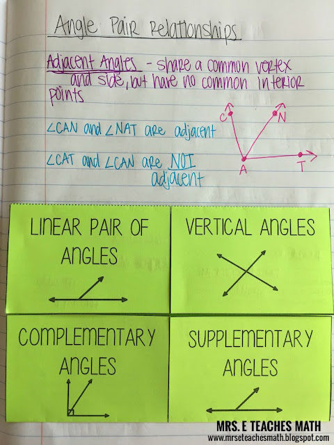 Angle Pair Relationships Interactive Notebook Page   mrseteachesmath.blgospot.com