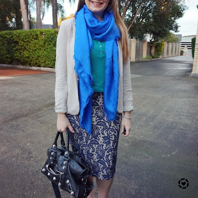 Louis Vuitton monogram shawl with teal and blue pencil skirt outfit | awayfromblue instagram