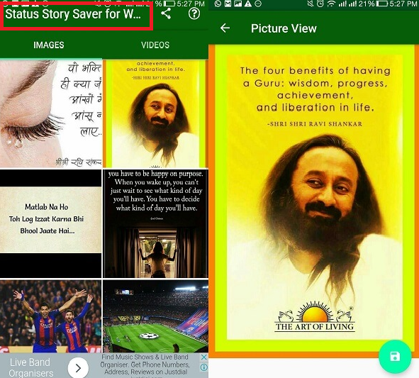 Download the Status of WhatsApp by Story Saver Android App