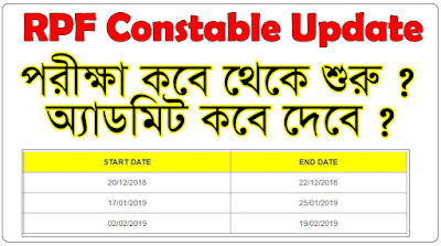 RPF Constable Update 2018 |RPF Roll Number | RPF Admit Card Download 2018 | RPF Exam Bangla