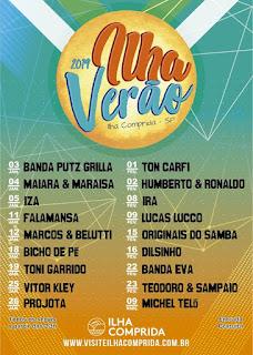 Ilha Verão 2019 contará com shows de Maiara & Maraisa; Marcos & Belutti, Michel Teló, Toni Garrido, Ira