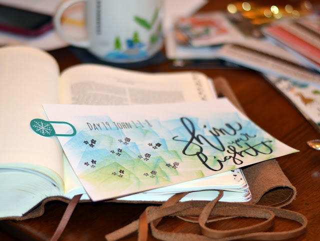 color in your Bible, faith, advent, dayspring, hand lettering, bible journaling, john, shine your light