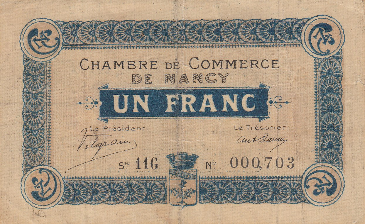 Chambre de commerce and local emergency banknotes from for Chambre commerce france