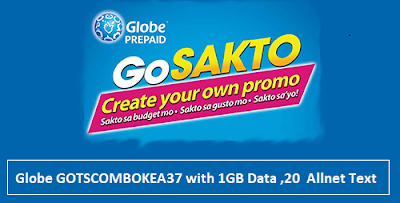 Globe GOTSCOMBOKEA37 with 1GB Data ,20  Allnet Text