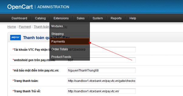 Tích hợp VTC Pay vào mã nguồn mở Opencart