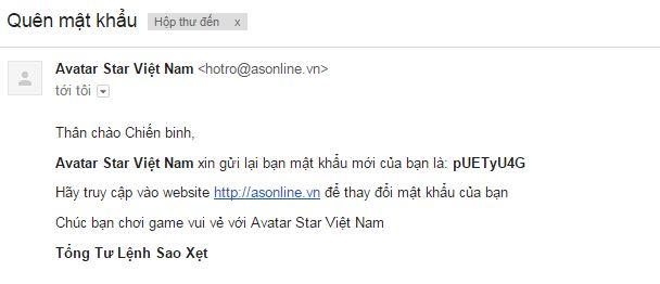 Cach lay lai mat khau game avatar star