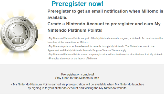 Miitomo preregister page Nintendo Account Platinum Points