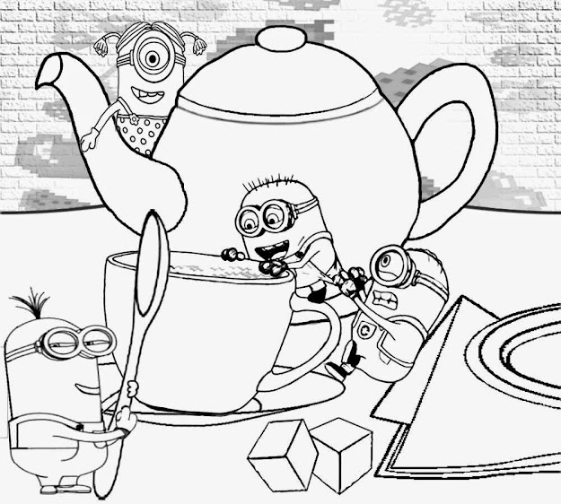 Cartoon Minion Rush Vectors House Tea Time Clothing Minions Printable Coloring  Pages For Youngsters