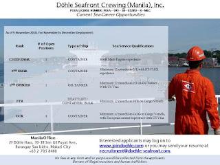 SEAMAN JOB INFO - Hiring now seaman crew for Container, Heavy Lift Cargo, Bulk Carrier, Oil Tanker, Offshore Survey Vessel deployment November-December 2018.
