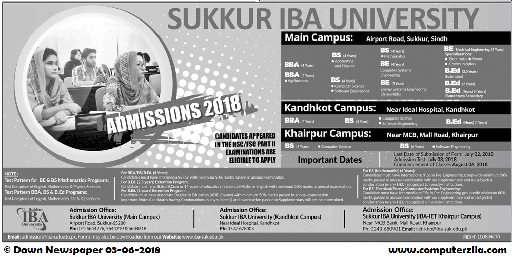 Sukkur IBA University Admissions Fall 2018